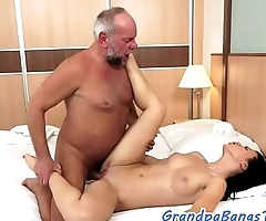 Stunning eurobabe jizzed on belly by grandpa