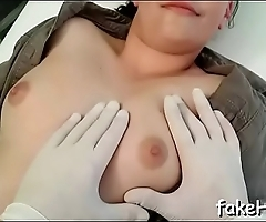 Sexy doctor cums once more and once more