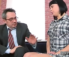 Sweet schoolgirl was tempted and drilled by her older schoolteacher