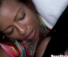 Gorgeous ebony wife sucking strippers cock