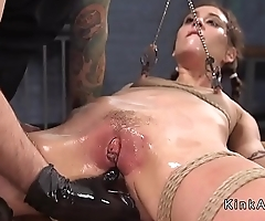 Anal slave pussy caned for training