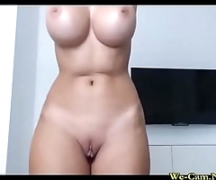 Big-tits sexy-girl tease pussy with sextoy vibe