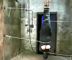 Mummified cunt Chloe Camilla gets nipple tortured and vibrator in her pussy while hanging