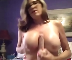 Perfect hairy mature Amy with sexy glasses and big tits