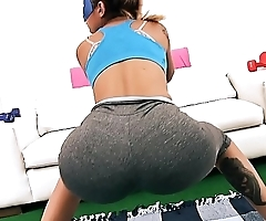 Huge Round Ass Latina Whore Working Out Has Huge Hooters and Deel Cameltoe