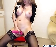 Big-boobs-blonde masturbating with vibrator and fingers