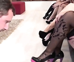 Cuckold Slave have to look while his Master fucks the best Ladies