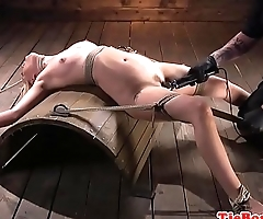 Restrained sub with smalltits gets pussytoyed