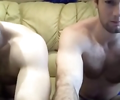 two naked dudes play with their bulges on chat