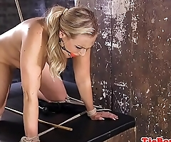 Busty submissive whipped before pussytoying