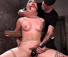 Whipped tattooed sub gets pussytoyed in BDSM