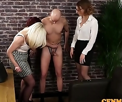 CFNM office babes humiliate unlucky guy