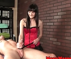 Cbt masseuse in latex wanking oiled cock