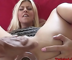 Heeled babe fingers and toys ass on the couch
