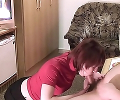 Thick guy loves beer and blowjob! (v. 2.0 with new girl and cumshot scenes!)