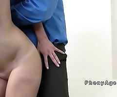 Pierced tongue babe sucks agents big dick