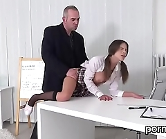 Cuddly schoolgirl gets teased and fucked by her elderly teacher