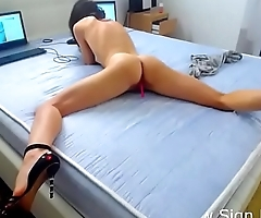 European babe squirts &amp_ orgasms on webcam show